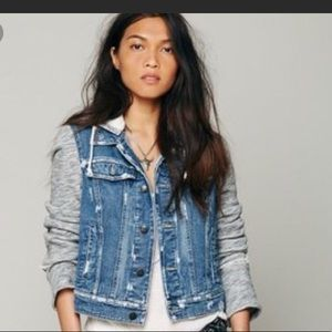 Free people sweatshirt denim jacket